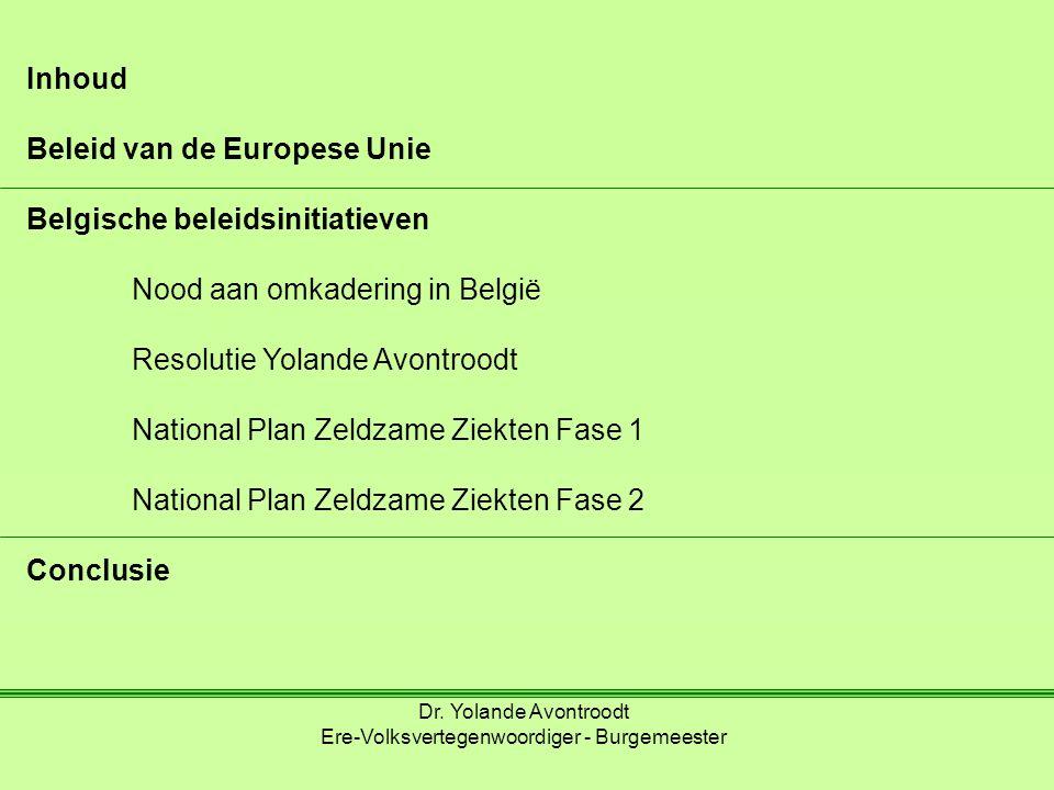 Inhoud Beleid van de Europese Unie Belgische beleidsinitiatieven Nood aan omkadering in België Resolutie Yolande Avontroodt National Plan Zeldzame Ziekten Fase 1 National Plan Zeldzame Ziekten Fase 2 Conclusie Dr.