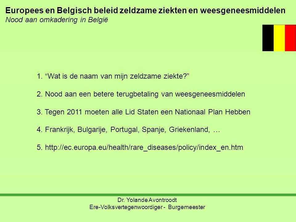 """Europees en Belgisch beleid zeldzame ziekten en weesgeneesmiddelen Nood aan omkadering in België 1. """"Wat is de naam van mijn zeldzame ziekte?"""" 2. Nood"""