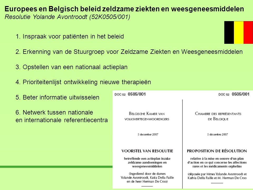 Europees en Belgisch beleid zeldzame ziekten en weesgeneesmiddelen Resolutie Yolande Avontroodt (52K0505/001) 1. Inspraak voor patiënten in het beleid