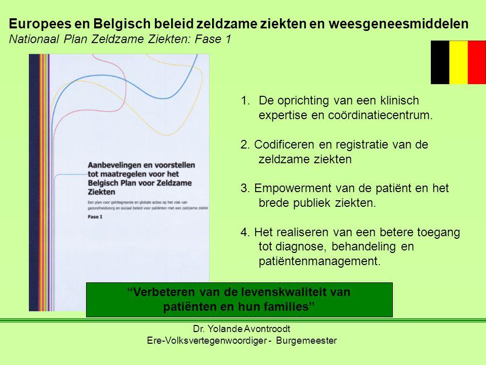 """""""Verbeteren van de levenskwaliteit van patiënten en hun families"""" Europees en Belgisch beleid zeldzame ziekten en weesgeneesmiddelen Nationaal Plan Ze"""