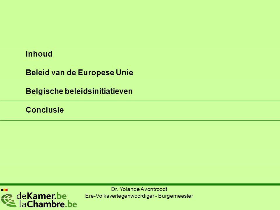 Inhoud Beleid van de Europese Unie Belgische beleidsinitiatieven Conclusie Dr. Yolande Avontroodt Ere-Volksvertegenwoordiger - Burgemeester