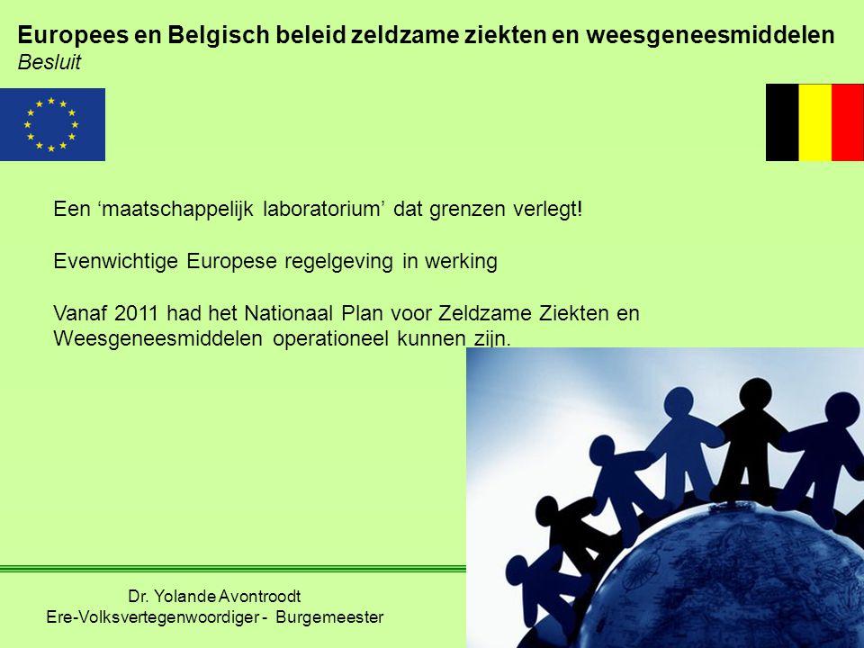 Europees en Belgisch beleid zeldzame ziekten en weesgeneesmiddelen Besluit Een 'maatschappelijk laboratorium' dat grenzen verlegt! Evenwichtige Europe