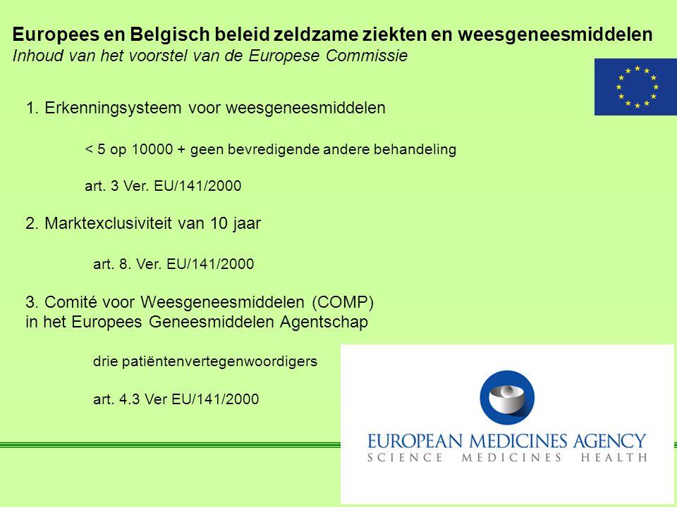Europees en Belgisch beleid zeldzame ziekten en weesgeneesmiddelen Inhoud van het voorstel van de Europese Commissie 1. Erkenningsysteem voor weesgene