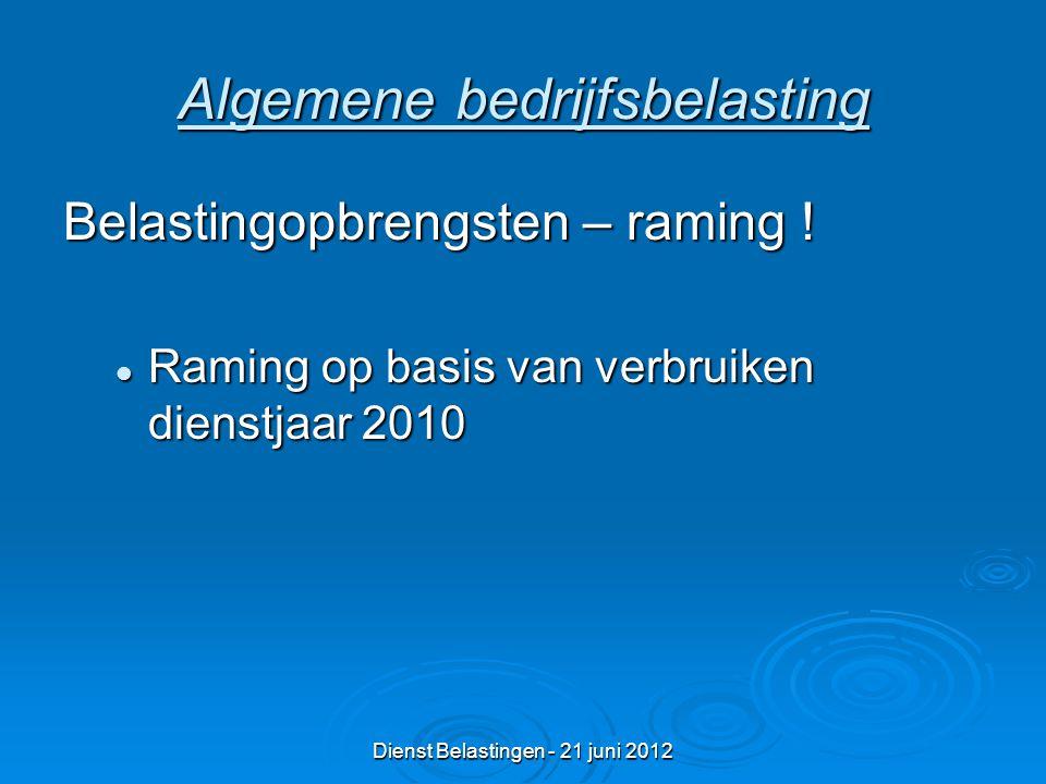 Dienst Belastingen - 21 juni 2012 Algemene bedrijfsbelasting Belastingopbrengsten – raming .