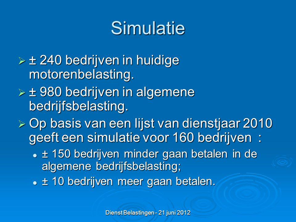 Dienst Belastingen - 21 juni 2012 Simulatie  ± 240 bedrijven in huidige motorenbelasting.
