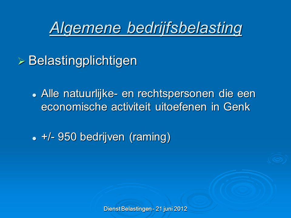 Dienst Belastingen - 21 juni 2012 Algemene bedrijfsbelasting  Belastingplichtigen Alle natuurlijke- en rechtspersonen die een economische activiteit uitoefenen in Genk Alle natuurlijke- en rechtspersonen die een economische activiteit uitoefenen in Genk +/- 950 bedrijven (raming) +/- 950 bedrijven (raming)