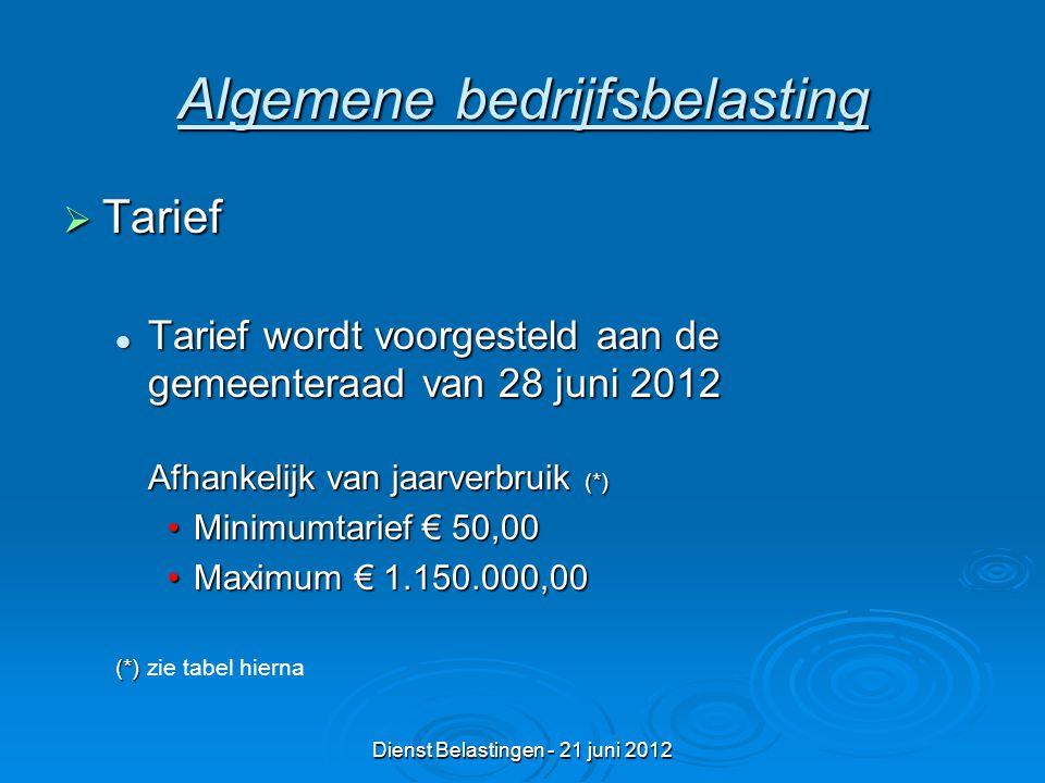 Dienst Belastingen - 21 juni 2012 Algemene bedrijfsbelasting  Tarief Tarief wordt voorgesteld aan de gemeenteraad van 28 juni 2012 Afhankelijk van jaarverbruik (*) Tarief wordt voorgesteld aan de gemeenteraad van 28 juni 2012 Afhankelijk van jaarverbruik (*) Minimumtarief € 50,00Minimumtarief € 50,00 Maximum € 1.150.000,00Maximum € 1.150.000,00 (*) (*) zie tabel hierna