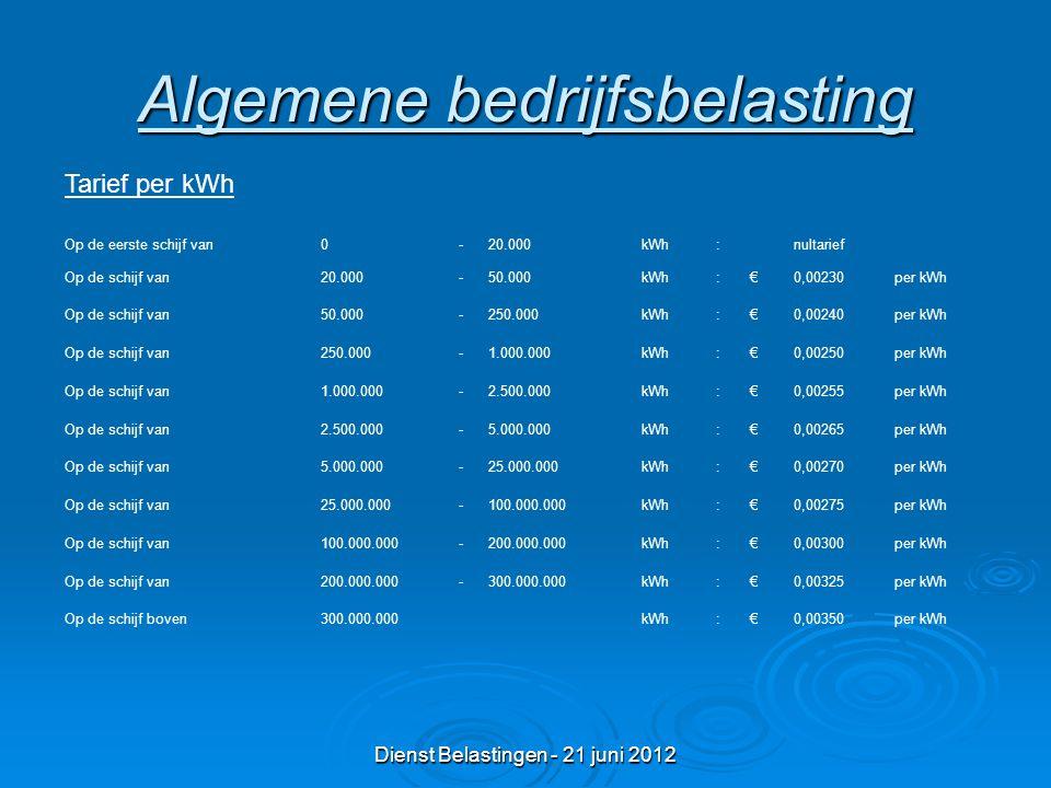 Dienst Belastingen - 21 juni 2012 Algemene bedrijfsbelasting Op de eerste schijf van0-20.000kWh:nultarief Op de schijf van20.000-50.000kWh:€0,00230per kWh Op de schijf van50.000-250.000kWh:€0,00240per kWh Op de schijf van250.000-1.000.000kWh:€0,00250per kWh Op de schijf van1.000.000-2.500.000kWh:€0,00255per kWh Op de schijf van2.500.000-5.000.000kWh:€0,00265per kWh Op de schijf van5.000.000-25.000.000kWh:€0,00270per kWh Op de schijf van25.000.000-100.000.000kWh:€0,00275per kWh Op de schijf van100.000.000-200.000.000kWh:€0,00300per kWh Op de schijf van200.000.000-300.000.000kWh:€0,00325per kWh Op de schijf boven300.000.000kWh:€0,00350per kWh Tarief per kWh