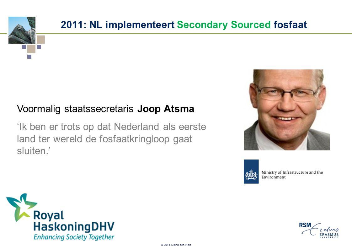 © 2014 Diana den Held Voormalig staatssecretaris Joop Atsma 'Ik ben er trots op dat Nederland als eerste land ter wereld de fosfaatkringloop gaat sluiten.' 2011: NL implementeert Secondary Sourced fosfaat