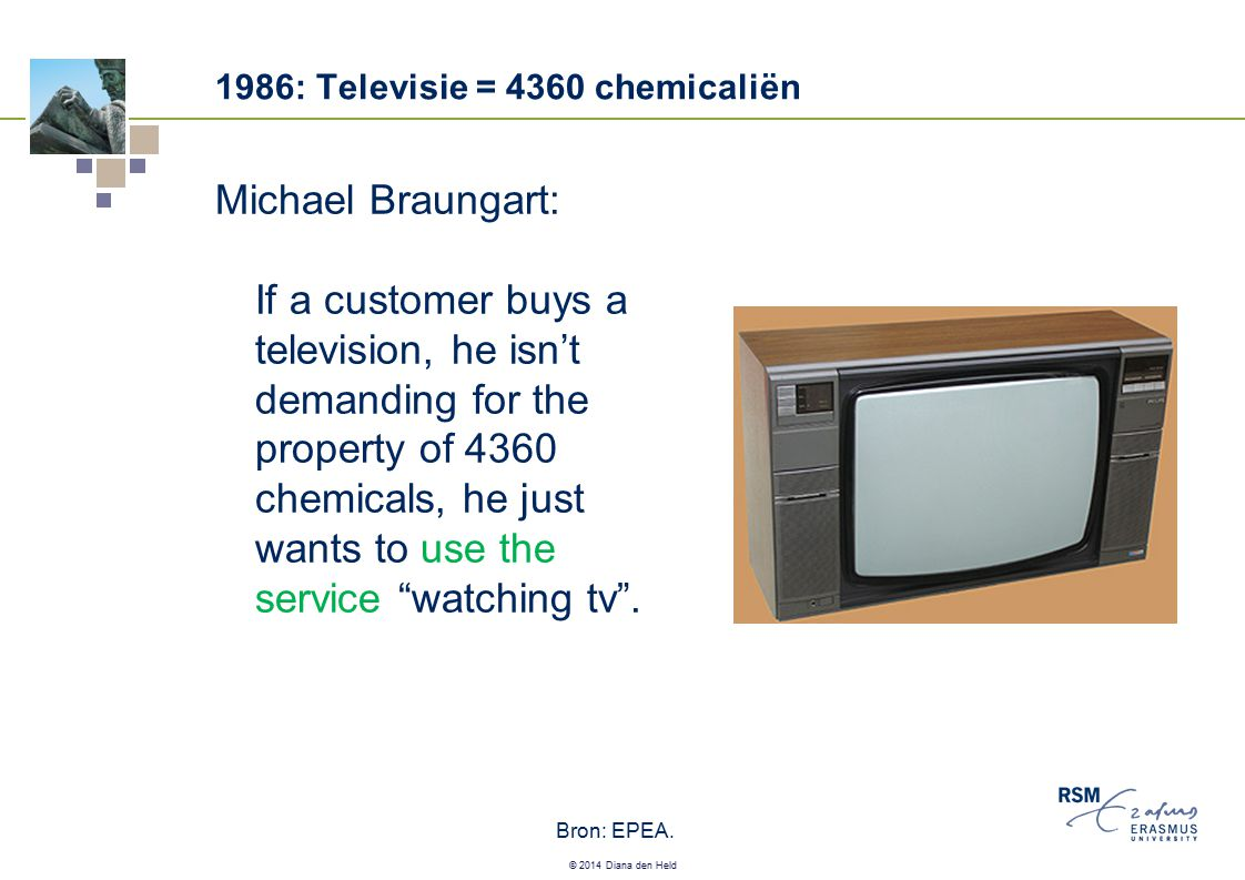 © 2014 Diana den Held 1986: Televisie = 4360 chemicaliën Michael Braungart: If a customer buys a television, he isn't demanding for the property of 43