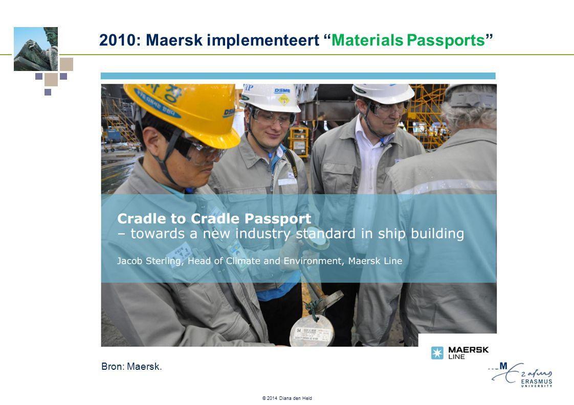 © 2014 Diana den Held 2010: Maersk implementeert Materials Passports Bron: Maersk.