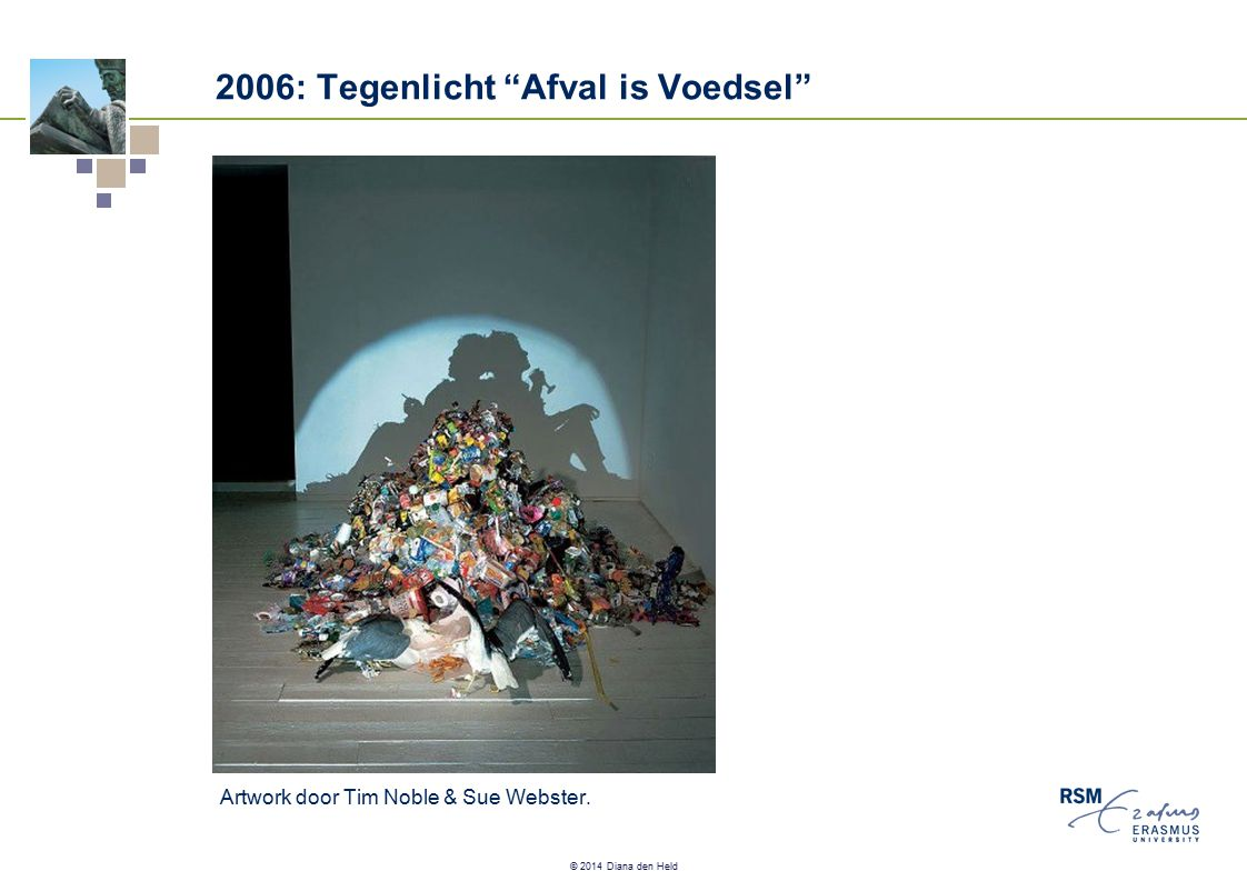 "© 2014 Diana den Held 2006: Tegenlicht ""Afval is Voedsel"" Artwork door Tim Noble & Sue Webster."