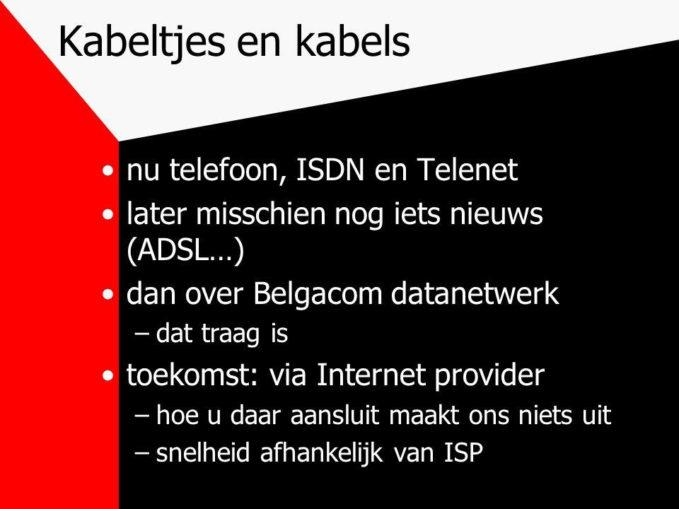 Kabeltjes en kabels nu telefoon, ISDN en Telenet later misschien nog iets nieuws (ADSL…) dan over Belgacom datanetwerk –dat traag is toekomst: via Internet provider –hoe u daar aansluit maakt ons niets uit –snelheid afhankelijk van ISP