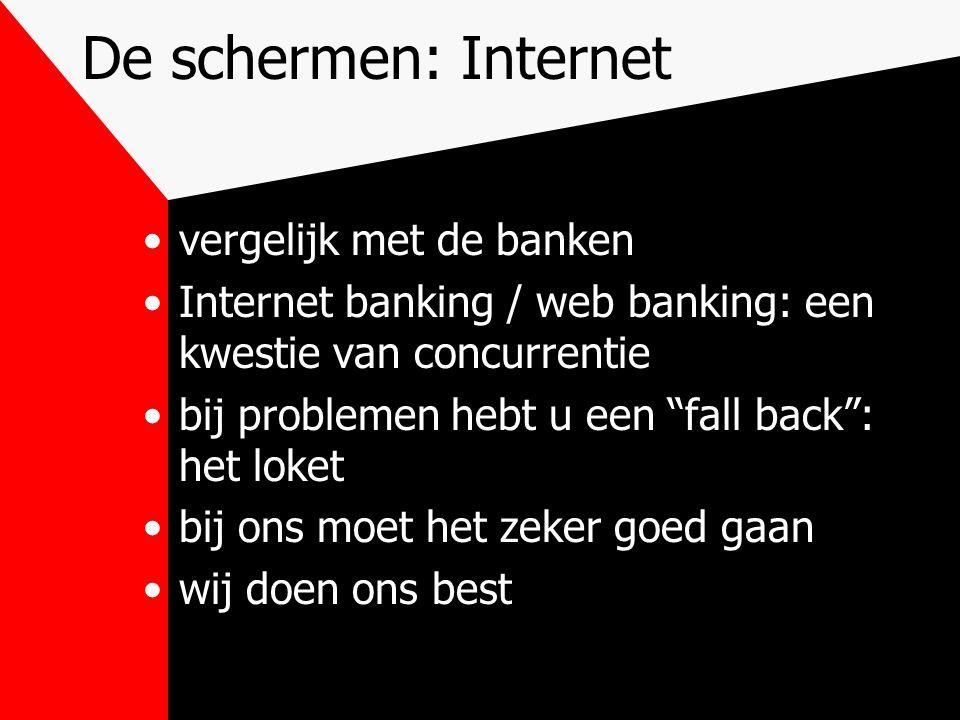De schermen: Internet vergelijk met de banken Internet banking / web banking: een kwestie van concurrentie bij problemen hebt u een fall back : het loket bij ons moet het zeker goed gaan wij doen ons best