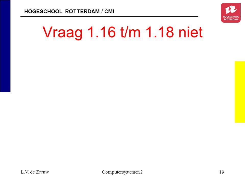HOGESCHOOL ROTTERDAM / CMI L.V. de ZeeuwComputersystemen 219 Vraag 1.16 t/m 1.18 niet