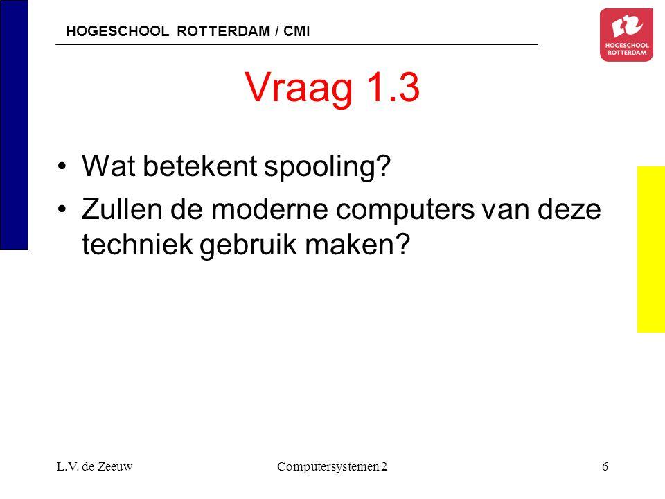HOGESCHOOL ROTTERDAM / CMI L.V. de ZeeuwComputersystemen 26 Vraag 1.3 Wat betekent spooling.