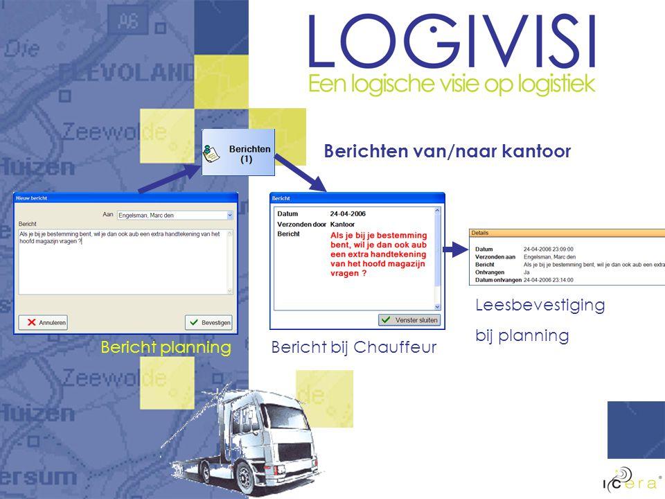 Berichten van/naar kantoor Bericht planningBericht bij Chauffeur Leesbevestiging bij planning