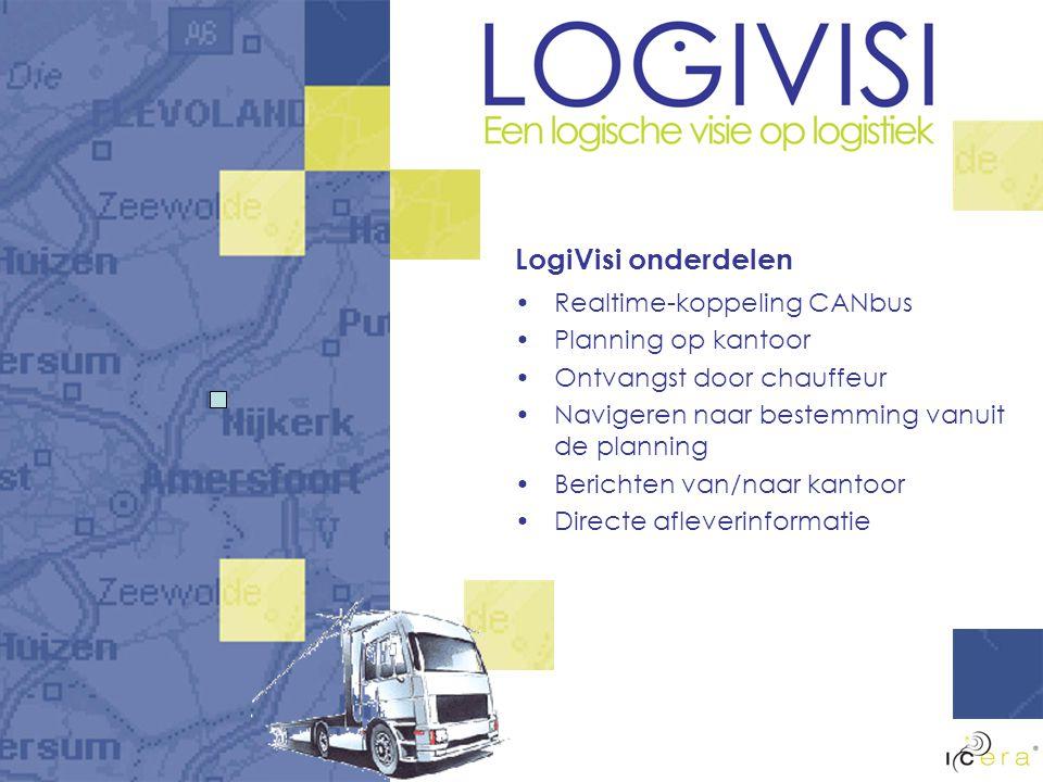 LogiVisi onderdelen Realtime-koppeling CANbus Planning op kantoor Ontvangst door chauffeur Navigeren naar bestemming vanuit de planning Berichten van/