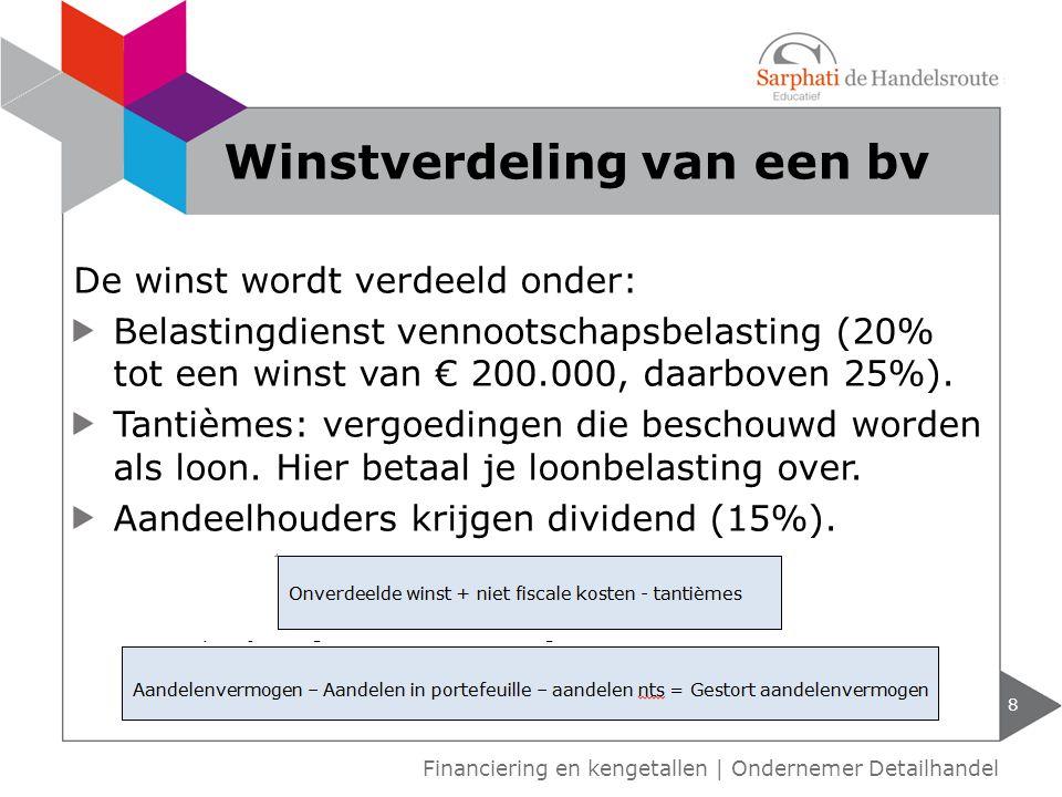 De winst wordt verdeeld onder: Belastingdienst vennootschapsbelasting (20% tot een winst van € 200.000, daarboven 25%).