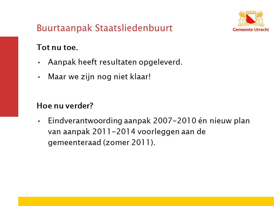 Buurtaanpak Staatsliedenbuurt Tot nu toe. Aanpak heeft resultaten opgeleverd.
