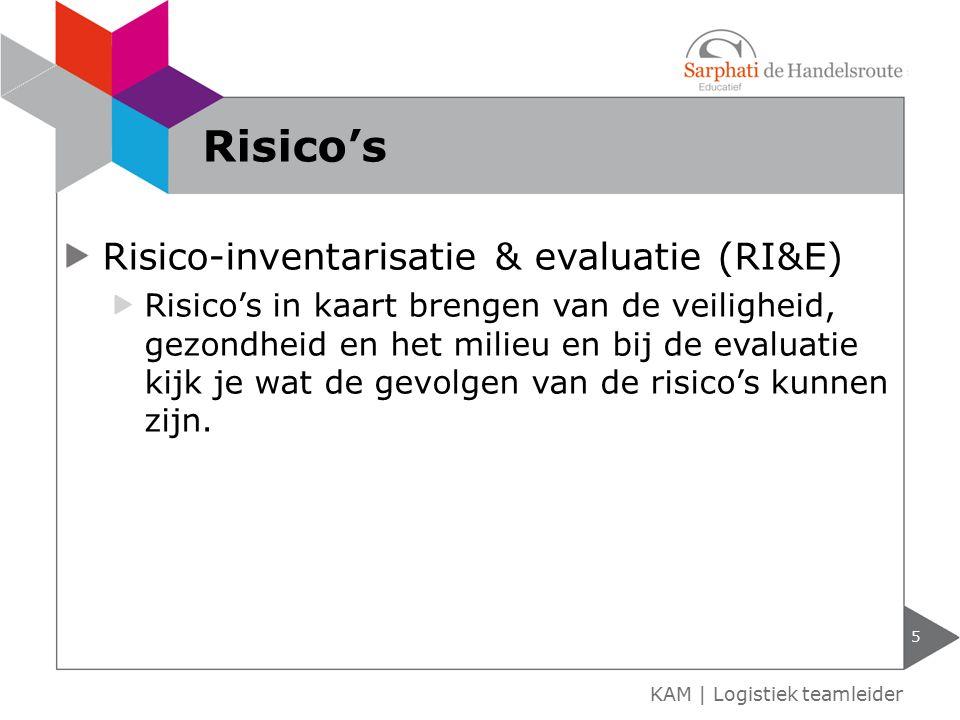 Alle acties om de risico's te verminderen op het gebied van: Brandrisico's Inbraakrisico's of overvalrisico's Risico's personeel 6 KAM | Logistiek teamleider Plan van aanpak