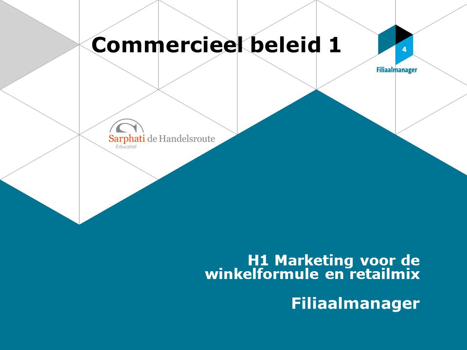 Commercieel beleid 1 H1 Marketing voor de winkelformule en retailmix Filiaalmanager