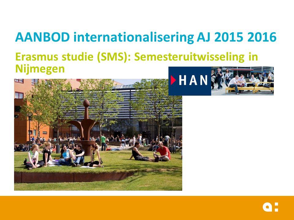 AANBOD internationalisering AJ 2015 2016 Erasmus studie (SMS): Semesteruitwisseling in Nijmegen 