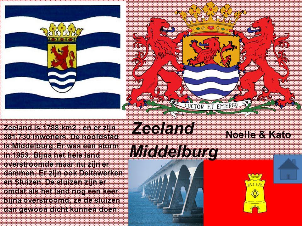 Zeeland Middelburg Zeeland is 1788 km2, en er zijn 381.730 inwoners. De hoofdstad is Middelburg. Er was een storm in 1953. Bijna het hele land overstr
