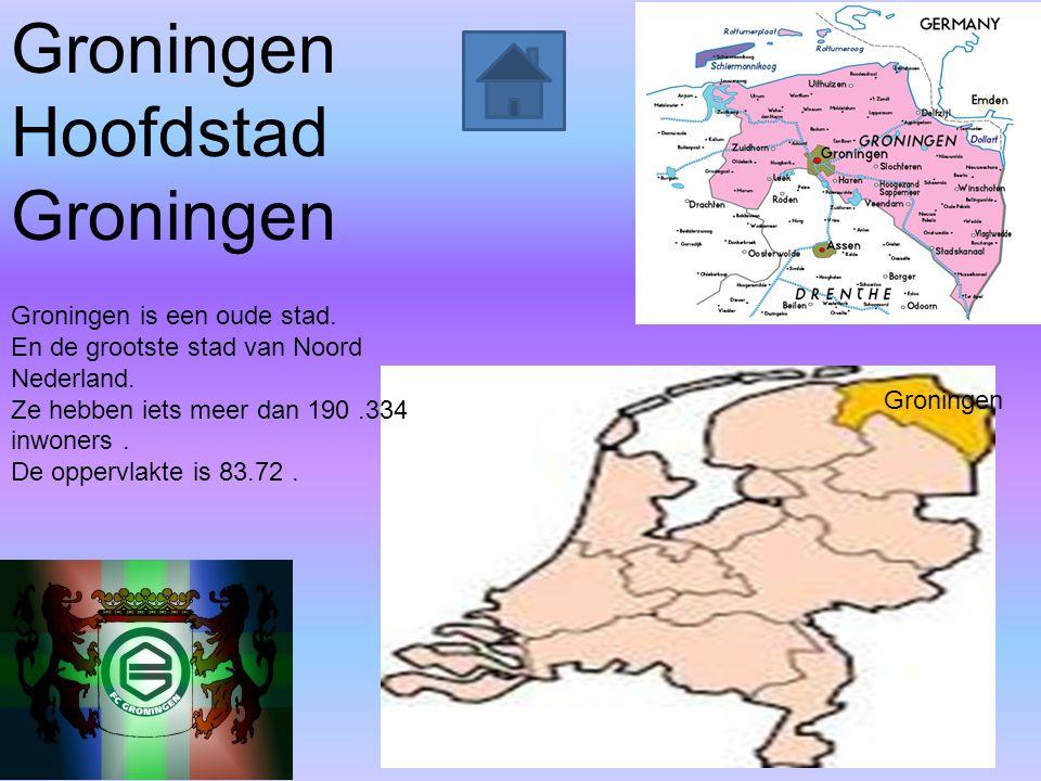 Groningen Hoofdstad Groningen Groningen is een oude stad. En de grootste stad van Noord Nederland. Ze hebben iets meer dan 190.334 inwoners. De opperv