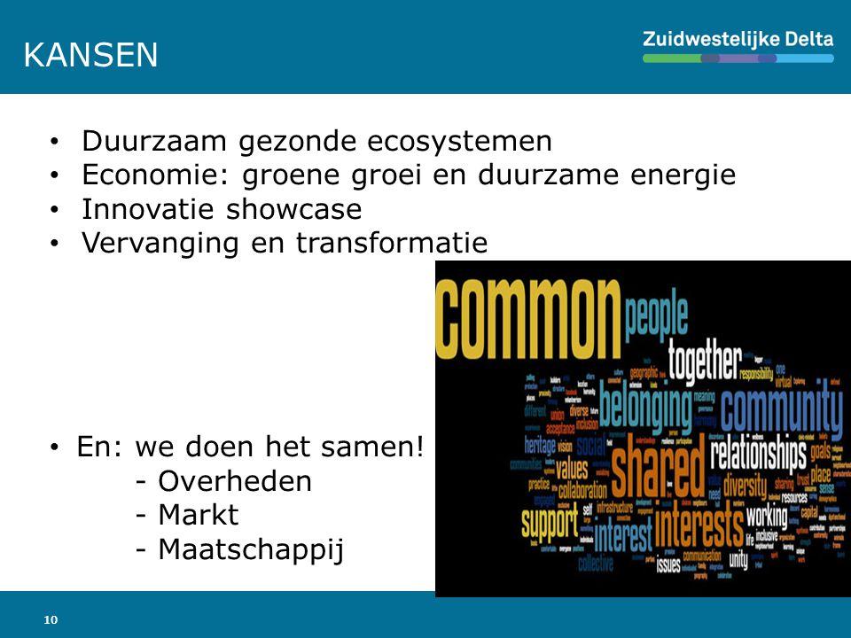 10 KANSEN Duurzaam gezonde ecosystemen Economie: groene groei en duurzame energie Innovatie showcase Vervanging en transformatie En: we doen het samen