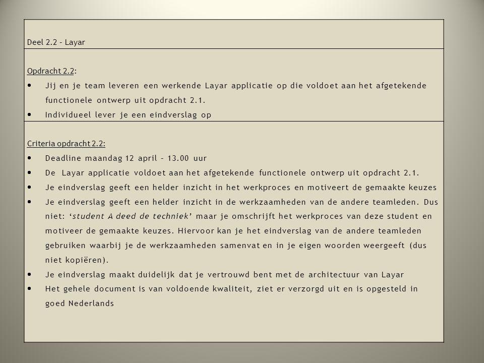 Deel 2.2 – Layar Opdracht 2.2:  Jij en je team leveren een werkende Layar applicatie op die voldoet aan het afgetekende functionele ontwerp uit opdra