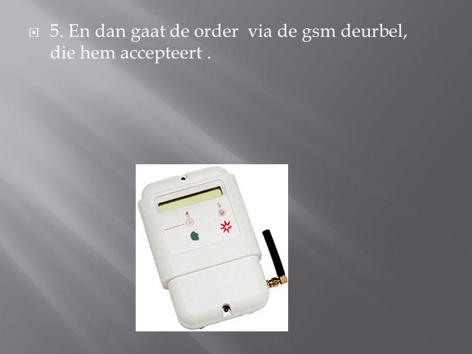  5. En dan gaat de order via de gsm deurbel, die hem accepteert.