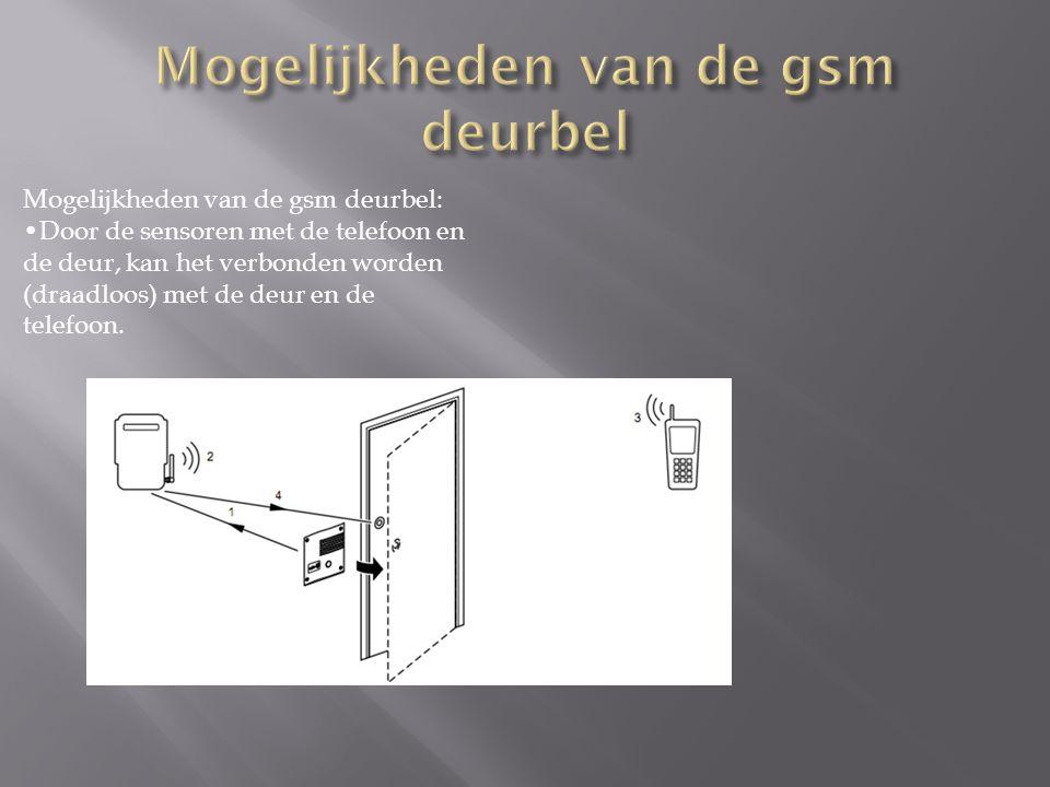 Mogelijkheden van de gsm deurbel: Door de sensoren met de telefoon en de deur, kan het verbonden worden (draadloos) met de deur en de telefoon.