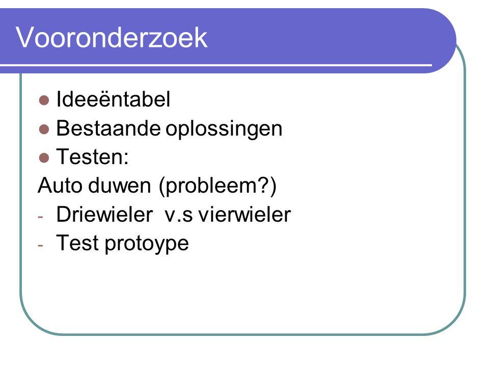 Vooronderzoek Ideeëntabel Bestaande oplossingen Testen: Auto duwen (probleem ) - Driewieler v.s vierwieler - Test protoype