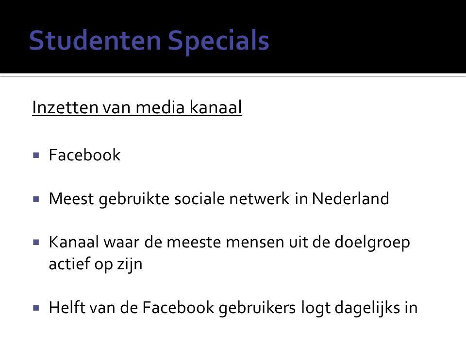 Inzetten van media kanaal  Facebook  Meest gebruikte sociale netwerk in Nederland  Kanaal waar de meeste mensen uit de doelgroep actief op zijn  Helft van de Facebook gebruikers logt dagelijks in