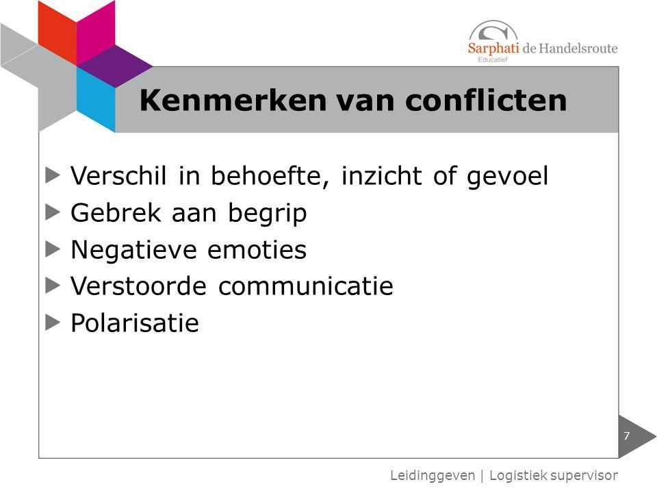 Verschil in behoefte, inzicht of gevoel Gebrek aan begrip Negatieve emoties Verstoorde communicatie Polarisatie 7 Leidinggeven | Logistiek supervisor Kenmerken van conflicten