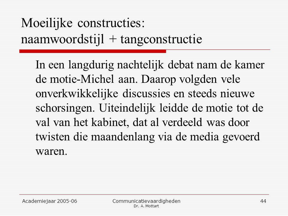 Academiejaar 2005-06 Communicatievaardigheden Dr. A.