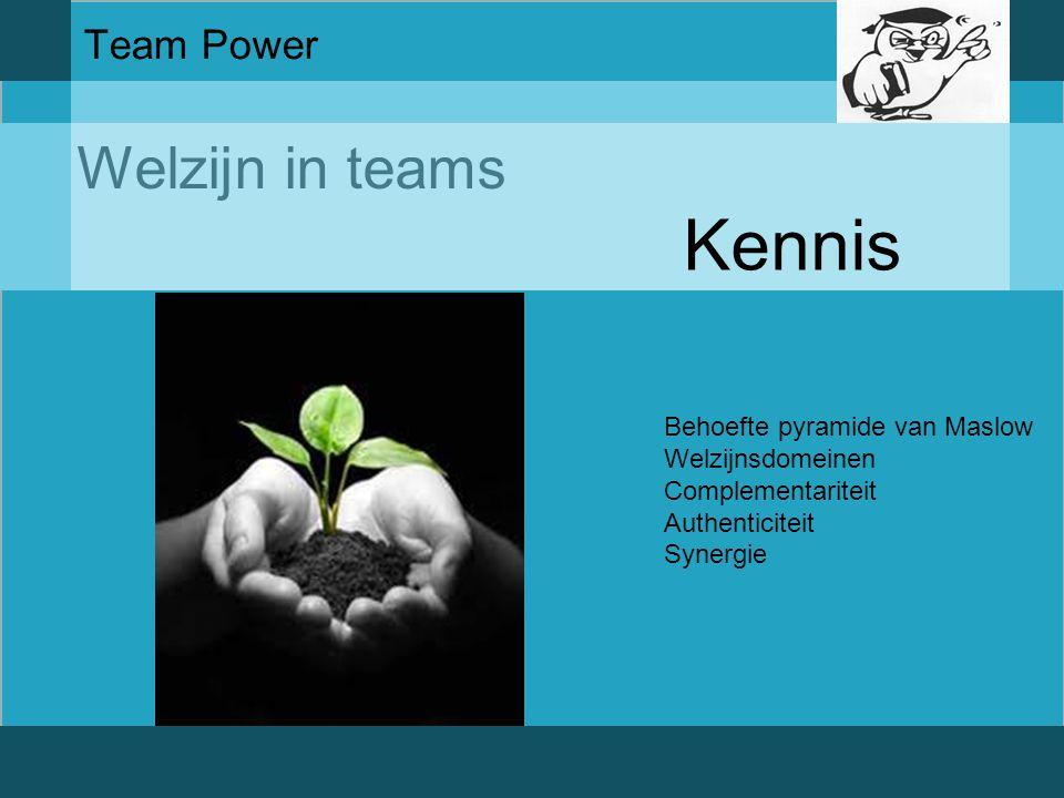 Welzijn in teams Team Power Kennis Behoefte pyramide van Maslow Welzijnsdomeinen Complementariteit Authenticiteit Synergie