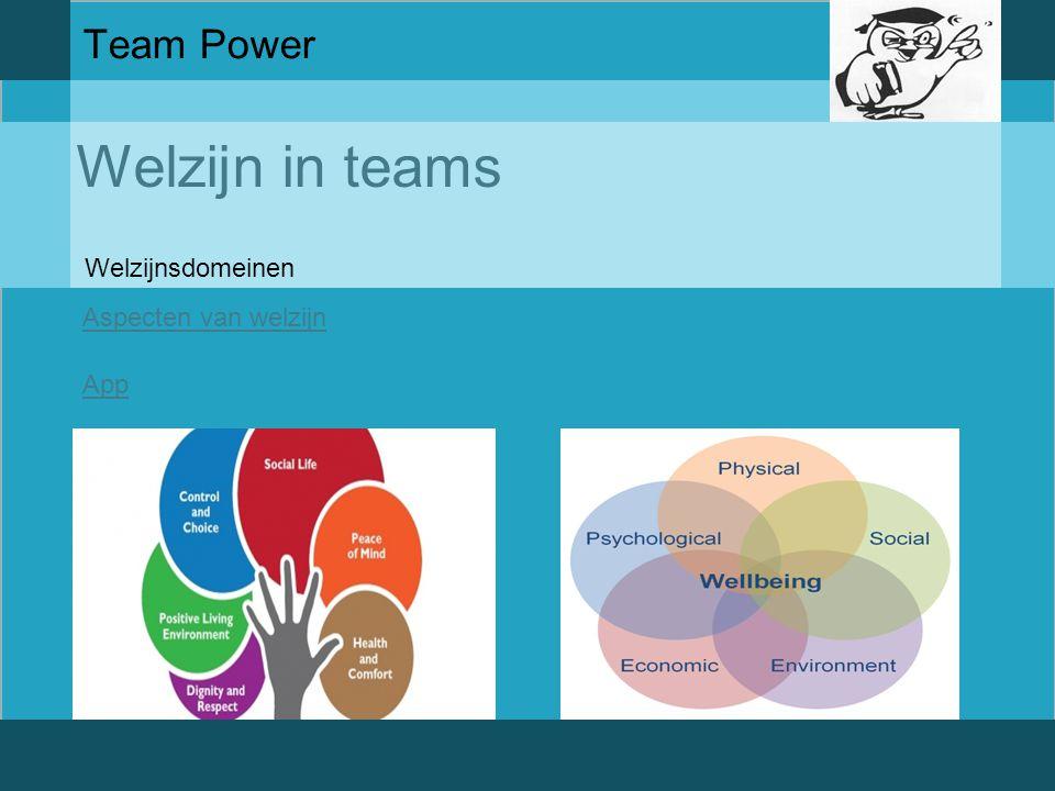 Welzijn in teams Team Power Aspecten van welzijn App Welzijnsdomeinen