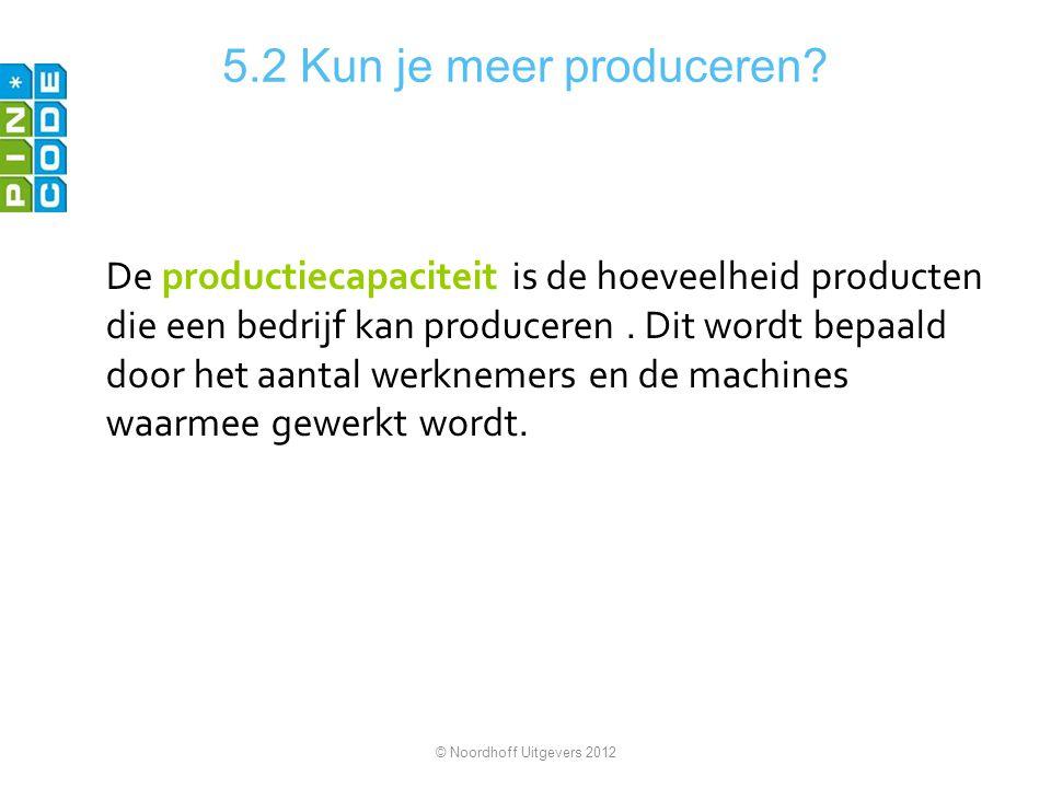 5.2 Kun je meer produceren? De productiecapaciteit is de hoeveelheid producten die een bedrijf kan produceren. Dit wordt bepaald door het aantal werkn