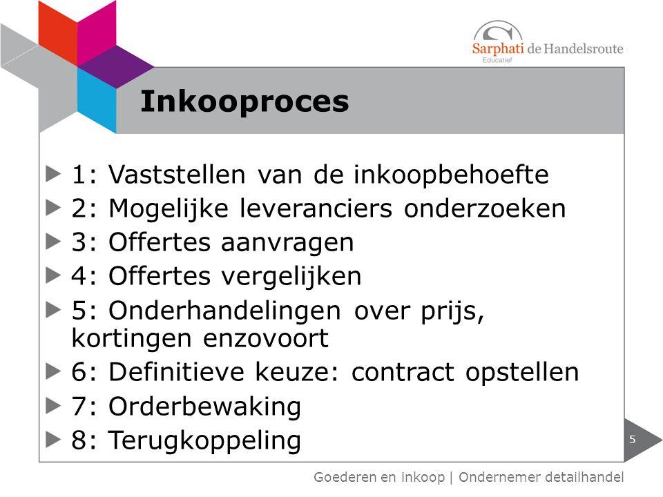 1: Vaststellen van de inkoopbehoefte 2: Mogelijke leveranciers onderzoeken 3: Offertes aanvragen 4: Offertes vergelijken 5: Onderhandelingen over prij