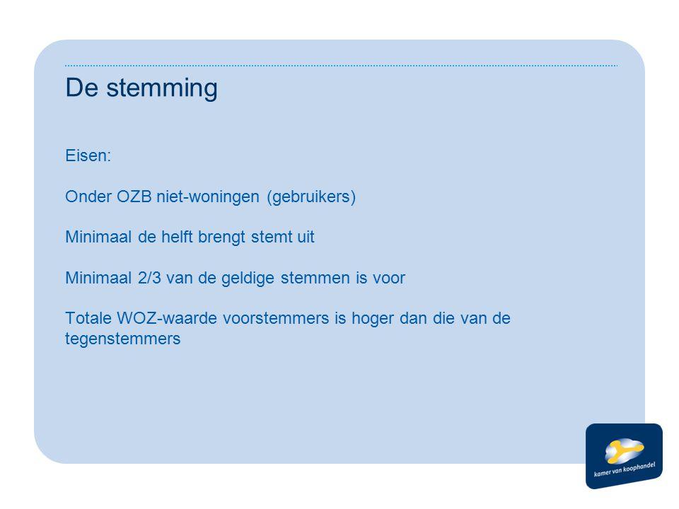 De stemming Eisen: Onder OZB niet-woningen (gebruikers) Minimaal de helft brengt stemt uit Minimaal 2/3 van de geldige stemmen is voor Totale WOZ-waarde voorstemmers is hoger dan die van de tegenstemmers