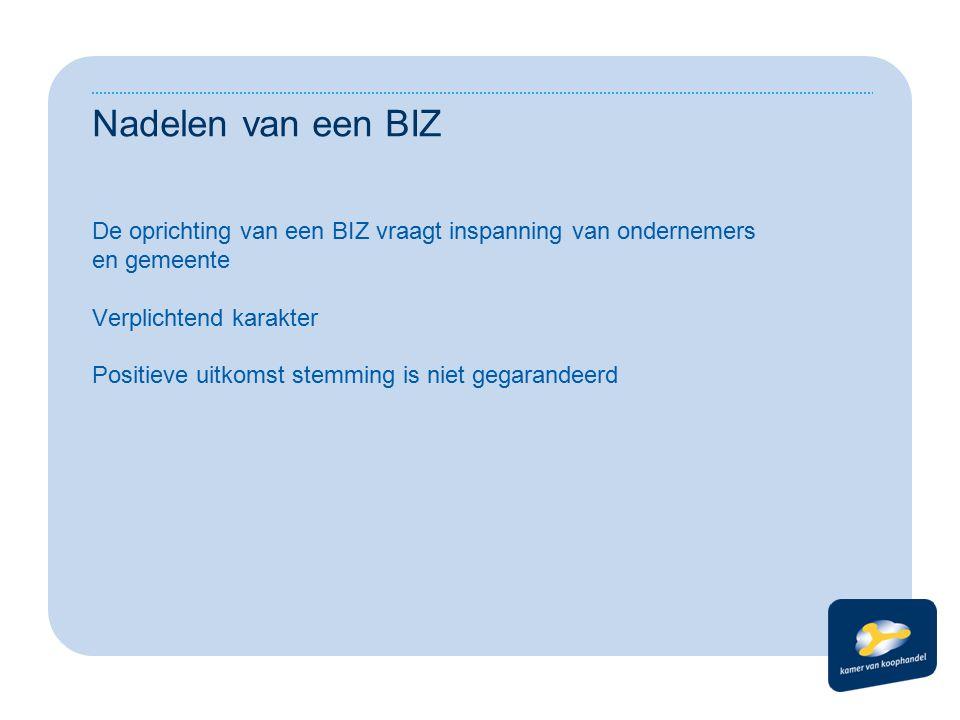 Nadelen van een BIZ De oprichting van een BIZ vraagt inspanning van ondernemers en gemeente Verplichtend karakter Positieve uitkomst stemming is niet gegarandeerd
