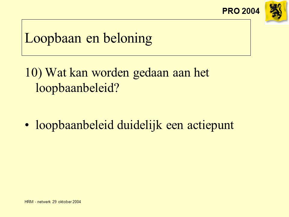 PRO 2004 HRM - netwerk 29 oktober 2004 Loopbaan en beloning 10) Wat kan worden gedaan aan het loopbaanbeleid.