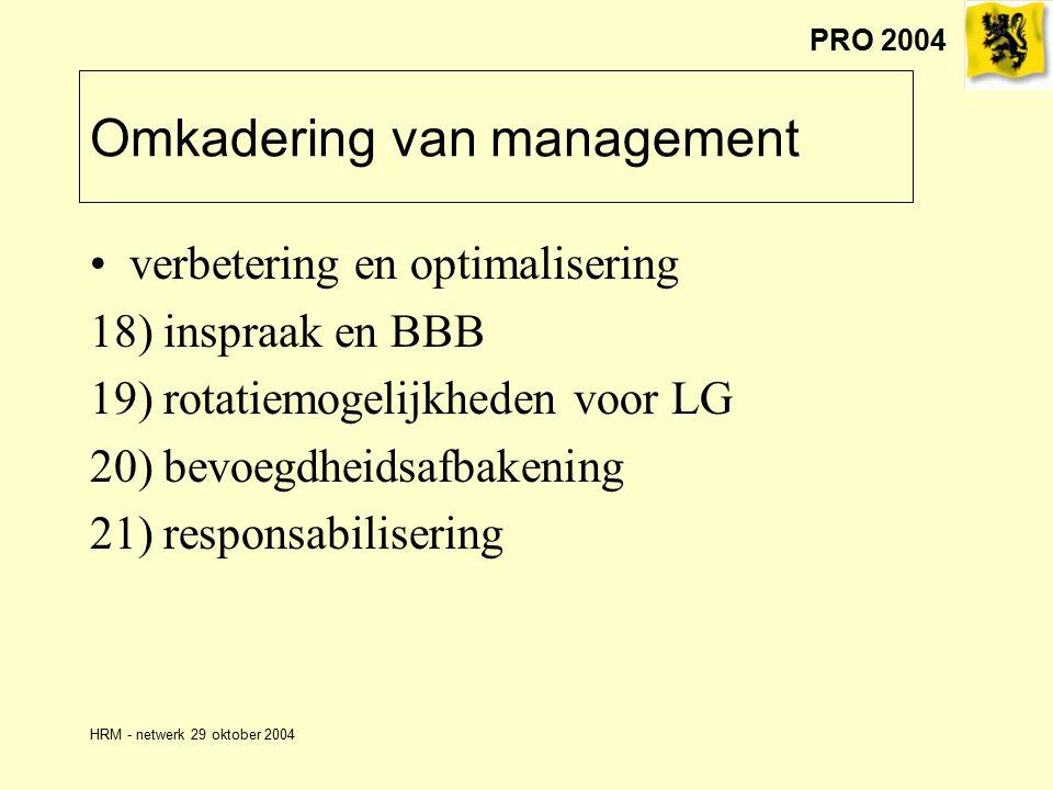 PRO 2004 HRM - netwerk 29 oktober 2004 Omkadering van management verbetering en optimalisering 18) inspraak en BBB 19) rotatiemogelijkheden voor LG 20) bevoegdheidsafbakening 21) responsabilisering