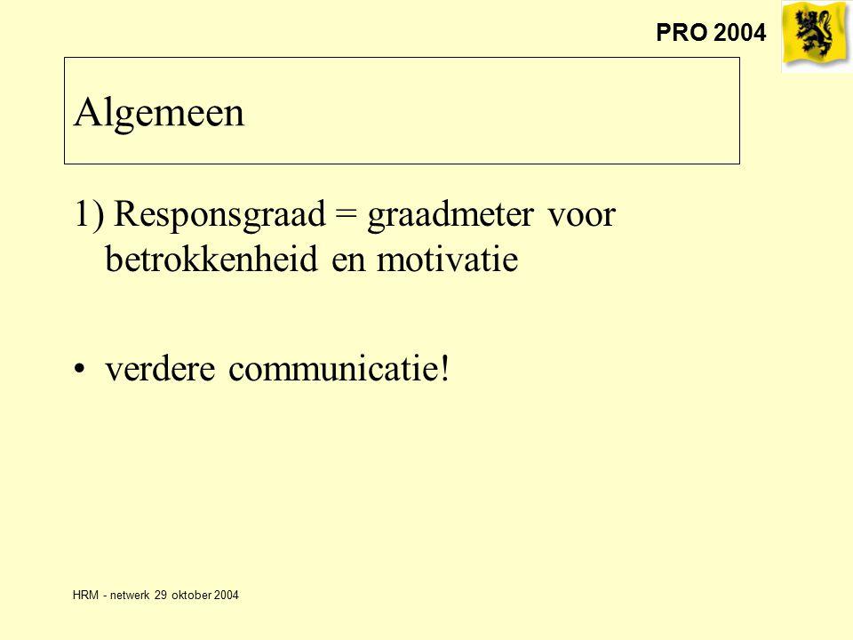 PRO 2004 HRM - netwerk 29 oktober 2004 Algemeen 1) Responsgraad = graadmeter voor betrokkenheid en motivatie verdere communicatie!