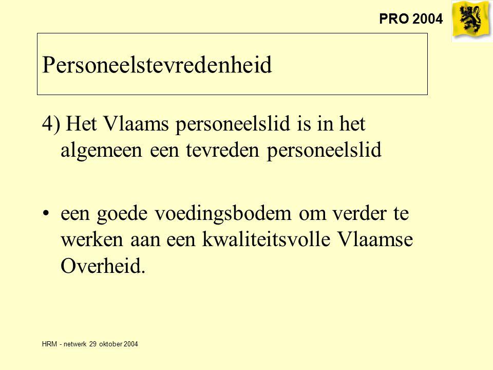 PRO 2004 HRM - netwerk 29 oktober 2004 Personeelstevredenheid 4) Het Vlaams personeelslid is in het algemeen een tevreden personeelslid een goede voedingsbodem om verder te werken aan een kwaliteitsvolle Vlaamse Overheid.