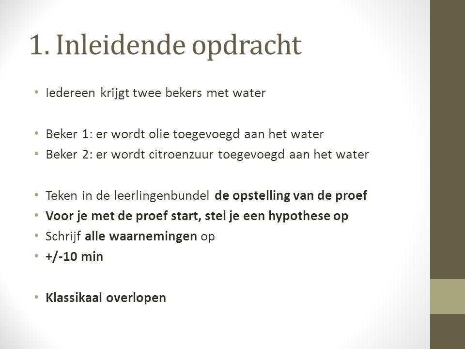 1. Inleidende opdracht Iedereen krijgt twee bekers met water Beker 1: er wordt olie toegevoegd aan het water Beker 2: er wordt citroenzuur toegevoegd