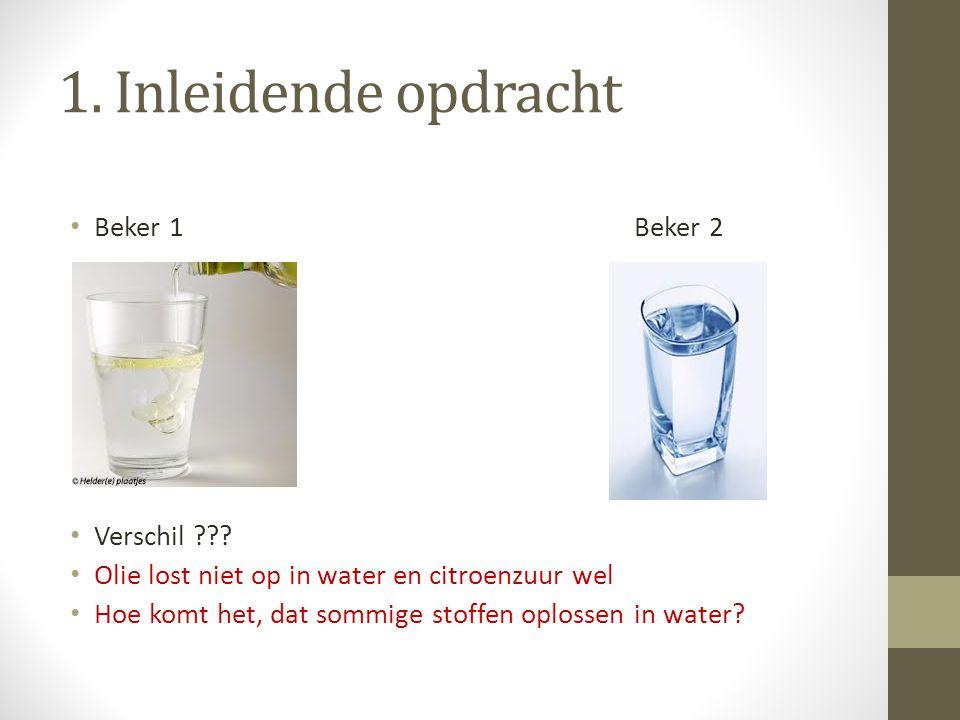 1. Inleidende opdracht Beker 1Beker 2 Verschil ??? Olie lost niet op in water en citroenzuur wel Hoe komt het, dat sommige stoffen oplossen in water?