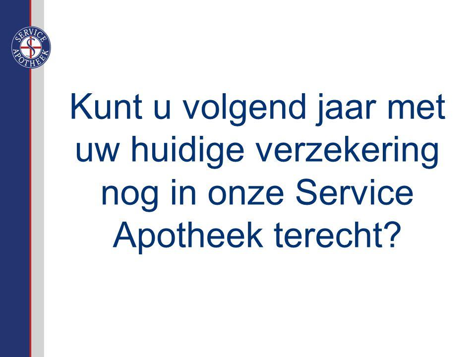 Kunt u volgend jaar met uw huidige verzekering nog in onze Service Apotheek terecht?